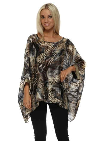 Exotic Print Oversized Kaftan Top With Gold Cuffs