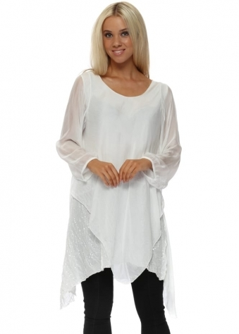 White Silk Waterfall Sequinned Tunic Top