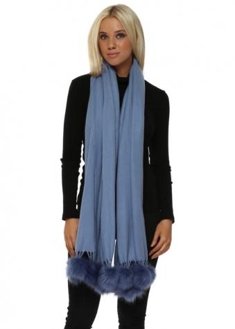 Blue Cashmere Faux Fur Pom Pom Wrap
