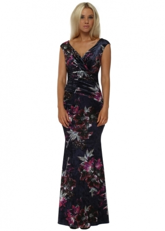 Navy Bardot Velvet Floral Print Maxi Dress