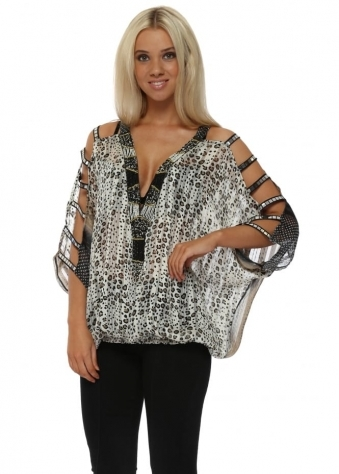 Little Leopard Print Chiffon Ladder Sleeve Blouson Top