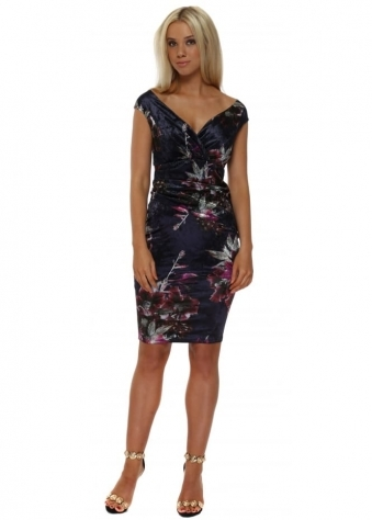 Navy Bardot Velvet Floral Print Midi Dress