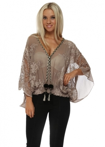 Taupe Embroidered Lace Tassle Top