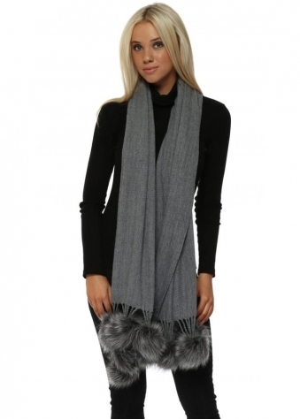 Grey Cashmere Faux Fur Pom Pom Wrap