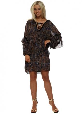 Blue Paisley Print Ruffle Tunic Dress