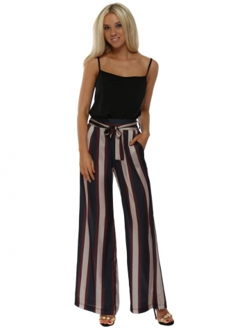 Burgundy & Navy Striped Wide Leg Silky Trousers