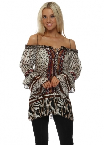Exotic Print Boho Sequin Coins Off The Shoulder Top