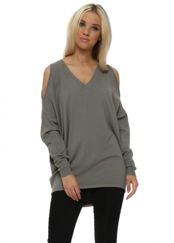 Grey Cold Shoulder Slouch Jumper