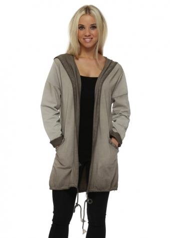 Beige Star Hooded Cotton Jacket