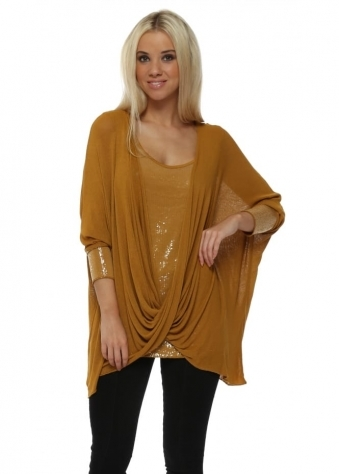 Mustard Sequinned Cross Over Tunic Top