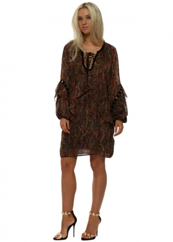 Brown Paisley Print Ruffle Tunic Dress