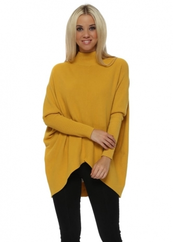 Oversized Mustard Polo Neck Dip Hem Jumper