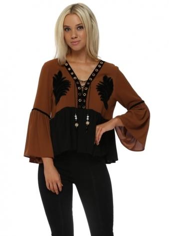 Brown & Black Velvet Detail Swing Top