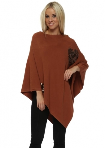 Tan Sequinned Heart Asymmetric Poncho