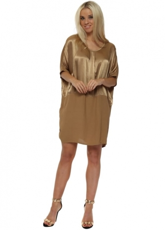 Gold Satin Oversized Tunic Dress