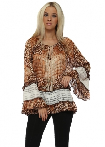 Brown Animal Print Lace Insert Tassel Tie Top