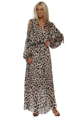 Leopard Print Bow Tie Cross Over Chiffon Maxi Dress