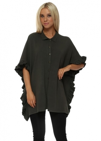Green Button Front Frill Cape Cardigan