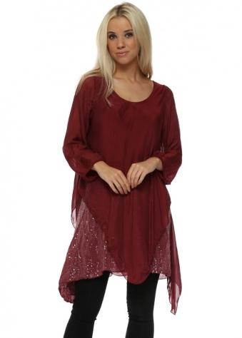 Burgundy Silk Waterfall Sequinned Tunic Top