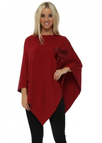 Red Sequinned Heart Asymmetric Poncho