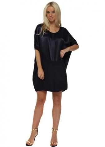 Navy Blue Satin Oversized Tunic Dress