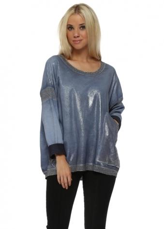 Blue Metallic Foil Distressed Sweater