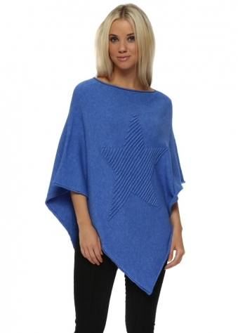 Bright Blue Knitted Embossed Star Poncho