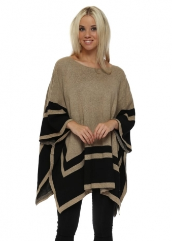 Camel Contrast Border Square Poncho