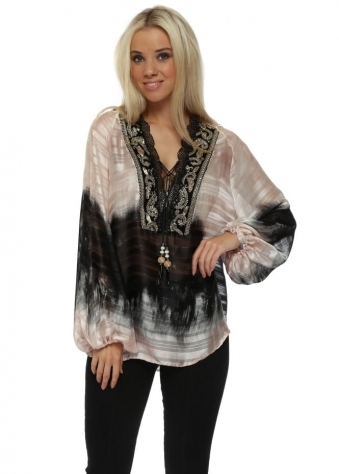 Pink Gold Embroidered Chiffon Blouse Top