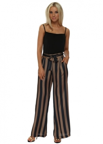 Bronze & Black Striped Wide Leg Silky Trousers