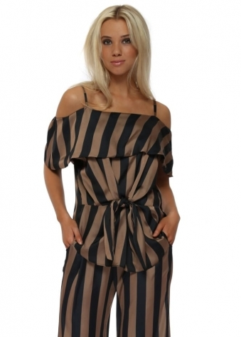Bardot Bronze & Black Striped Tie Front Blouse Top