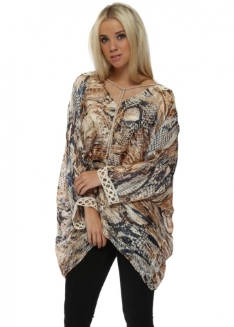 Snake Print Crochet Back Oversized Kaftan Top