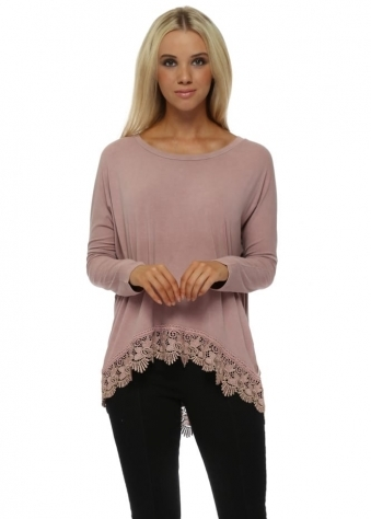 Racey Gold Lace Hem Top In Tawny
