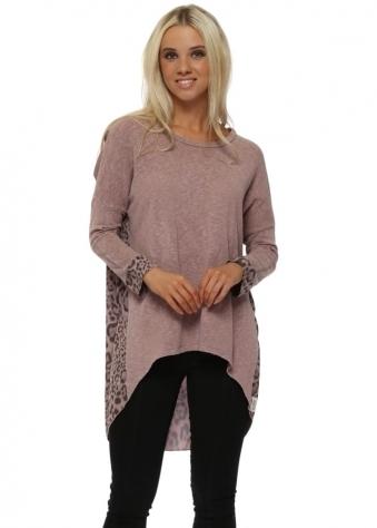 Beth Big Kat Leopard Contrast Back Tawny Slub Knit Top