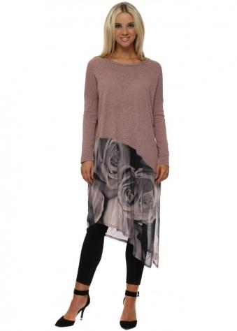 Portia Photo Rose Slub Knit Asymmetric Top In Tawny