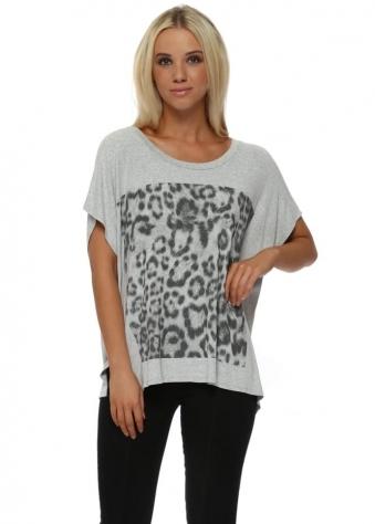 Giant Leopard Print Vanilla Melange Tunic Tee