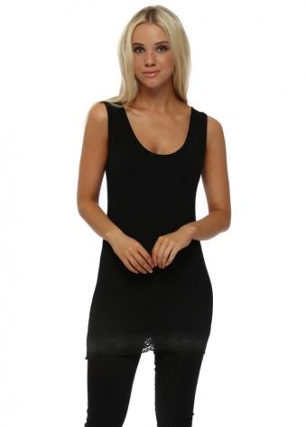 Suzy Lace Border Vest In Black