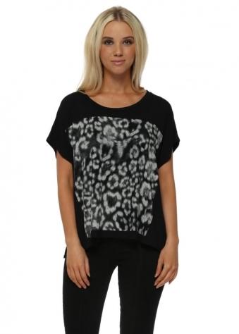 Giant Leopard Print Black Tunic Tee