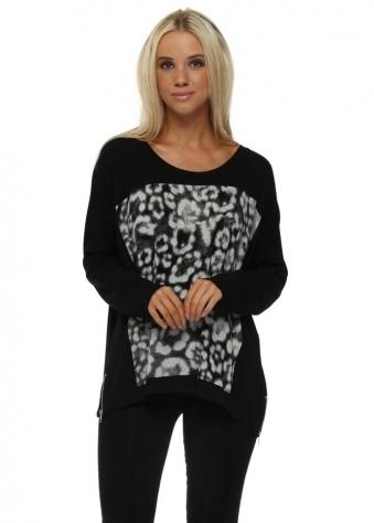 Zippy Giant Animal Print Sweater In Black