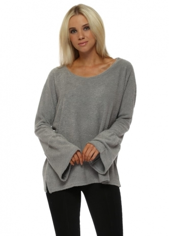 Chloe Coodle Knit Bell Sleeve Jumper In Mouse