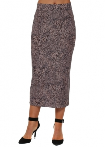 Leona Little Leopard Midi Skirt In Tawny