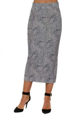 Leona Little Leopard Midi Skirt In Vanilla
