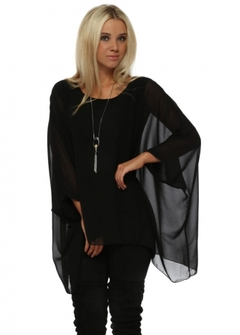 Black Chiffon Batwing Pearl Necklace Top