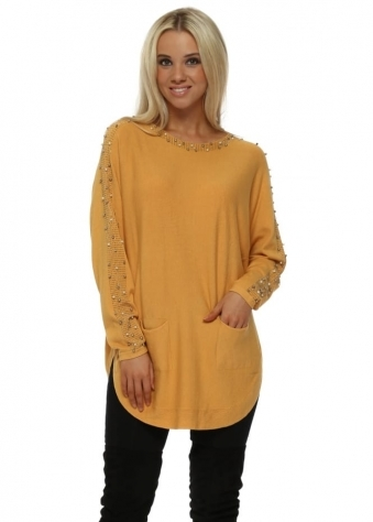 Mustard Pearl Studded Sleeve Tunic Jumper