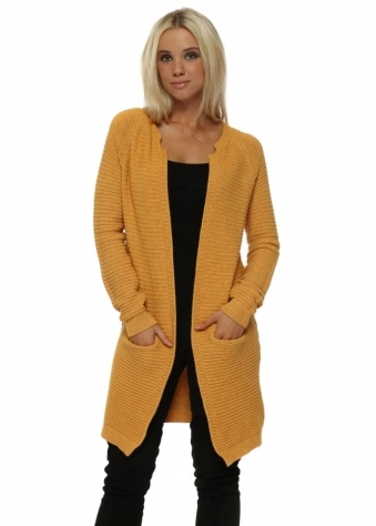 Mustard Ribbed Long Line Cardigan