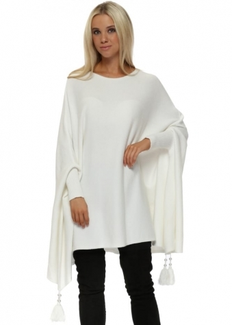 White Knitted Tassel & Pearl Poncho Jumper