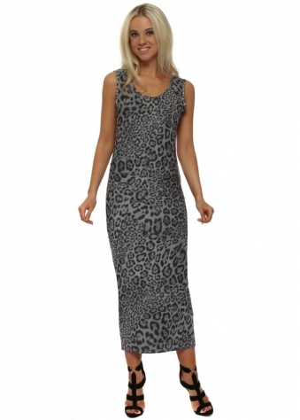 Brittany Big Kat Leopard Print Pencil Dress In Mouse