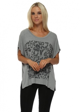 Giant Leopard Print Mouse Melange Tunic Tee