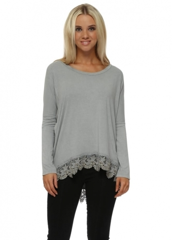 Racey Gold Lace Hem Top In Mouse