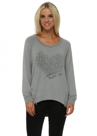 Starling Heart One Love Zip Sweater In Mouse